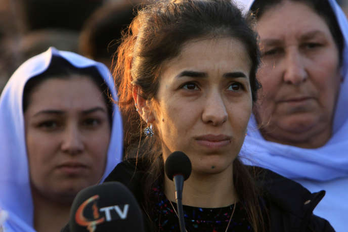 Nadia Murad, Prix Nobel de la paix 2018, en visite à Sinjar en Irak le 14 décembre 2018 pour parler de son combat contre l'exploitation sexuelle