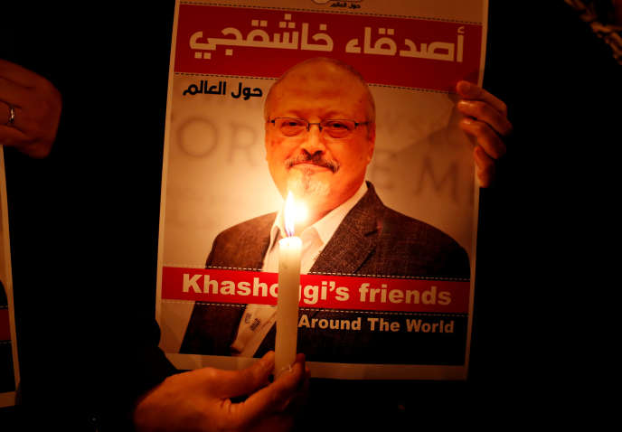 Manifestation en hommage au journaliste assassiné Jamal Khashoggi, devant l'ambassade d'Arabie saoudite à Istanbul, le 25 octobre.