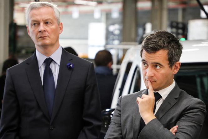 Leministre des finances, Bruno Le Maire et celui des comptes publics, GéraldDarmanin, àMaubeuge (Nord) en novembre 2018.