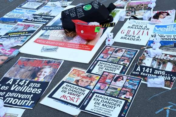 Manifestation des employés de Mondadori France, le 18 octobre 2018 à Paris