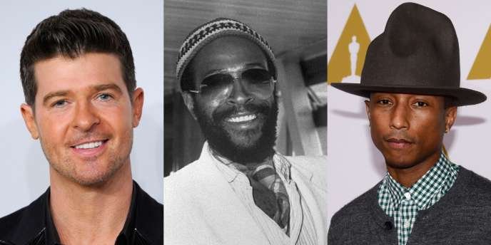 De gauche à droite : Robin Thicke, Marvin Gaye et Pharrell Williams.