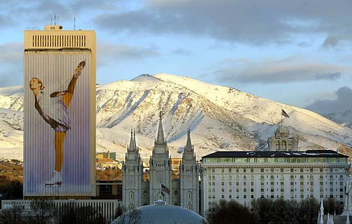 En janvier 2002, vue du centre ville de Salt Lake City (Utah).