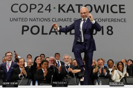Michal Kurtyka, le président des débats et secrétaire d'Etat polonais à l'environnement, à l'issue de la COP24.