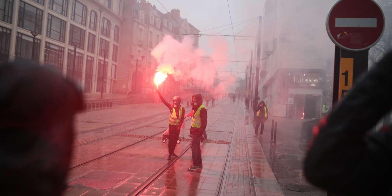 Manifestation des« gilets jaunes» le 15 décembre à Nantes.