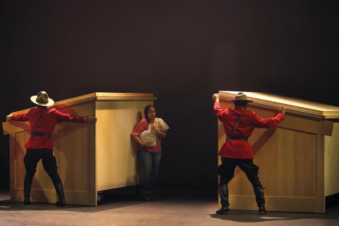 Répétitions de « Kanata », de Robert Lepage au Théâtre du Soleil, en novembre 2018, avecNirupama Nityanandan.