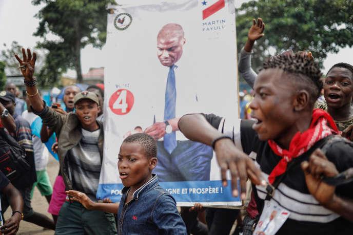 Des partisans de Martin Fayulu, à Kinshasa, le 19décembre 2018.