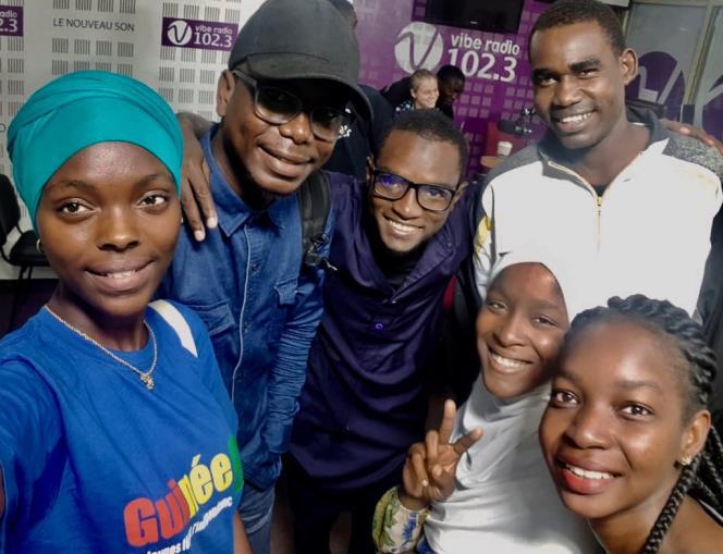 Les jeunes de notre série à Dakar, le 2 décembre 2018 : Hadja Idrissa Bah, Glory Cyriaque Hossou, Issaka Mounkaïla, Moukhtar Ben Ali, Aminata Adama Keita, Stella Attiogbe.