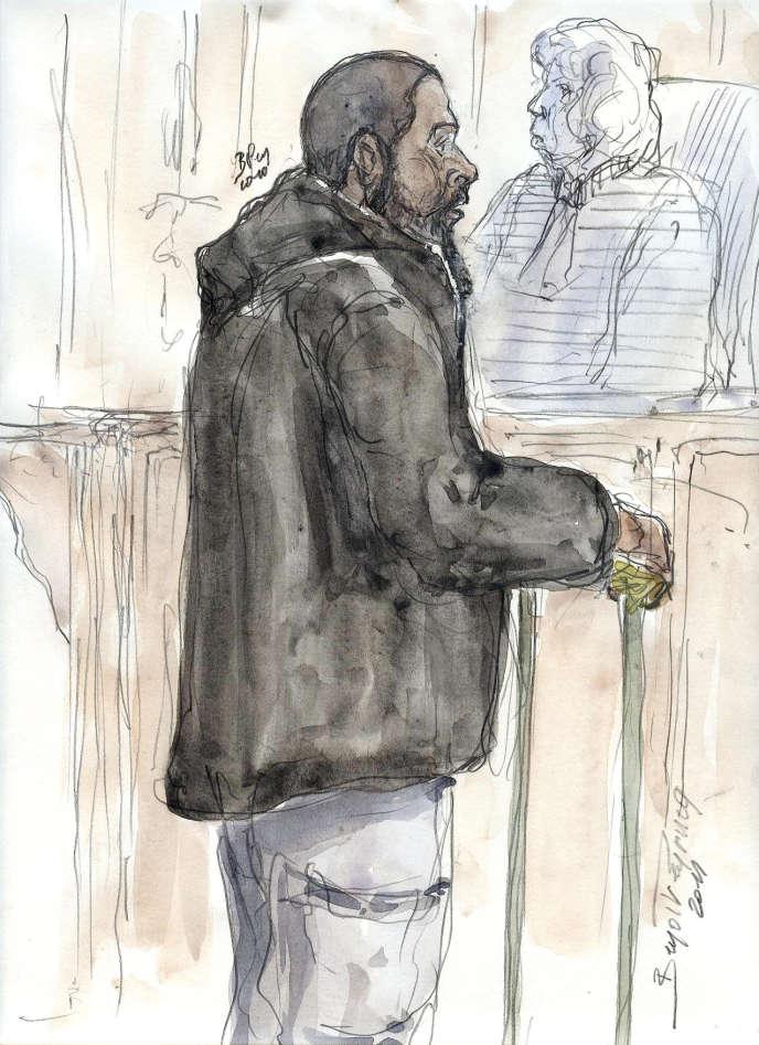 Croquis de Peter Cherif au tribunal lors de l'ouverture de son procès, à Paris, le 26janvier2011.