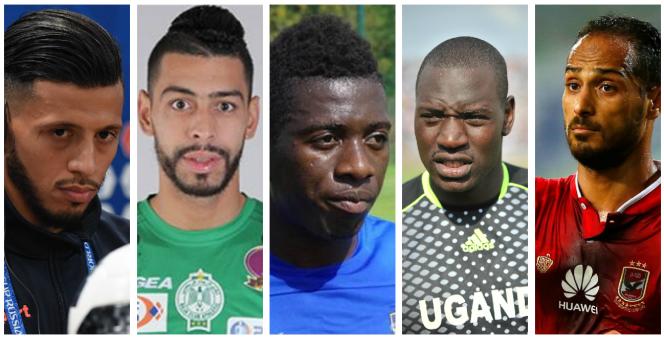 De gauche à droite : Anice Badri, de l'Espérance sportive de Tunis ;Mahmoud Benhalib, du Raja Club Athletic de Casablanca ;Jean-Marc Makasu, de l'AS Vita Club de Kinshasa ;Denis Onyango, du Mamelodi Sundows FC de Pretoria ;Walid Soliman, du Al-Ahly SC du Caire.