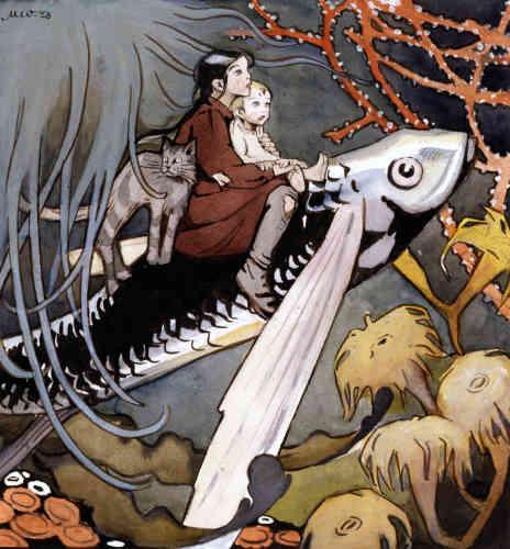 """«Auteure pour l'enfance, Anni Swan fut également éditrice de plusieurs magazines pour la jeunesse, qui révélèrent les plus grands illustrateurs finlandais du début du XXe siècle. Seule illustration du conte """"Le Cadeau de la Maîtresse des eaux"""", l'image des enfants et du chat transportés sous les eaux par un poisson est également la plus célèbre de Martta Wendelin. L'arabesque du trait et la subtilité des tons éteints apparentent l'illustration aux arts décoratifs de l'époque.»"""