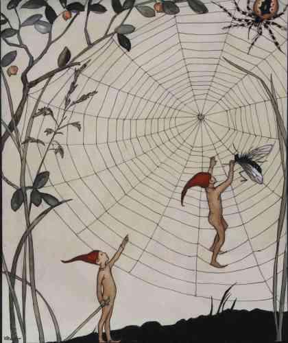«Le folklore des lutins et des trolls favorisa l'invention d'une iconographie qui ne devait rien à la tradition classique, et qui permit d'asseoir une identité nordique à partir du XIXe siècle. Issus d'un animisme ancestral, ces esprits furent affublés de traits et de costumes humains, tel le bonnet rouge de lutin.»
