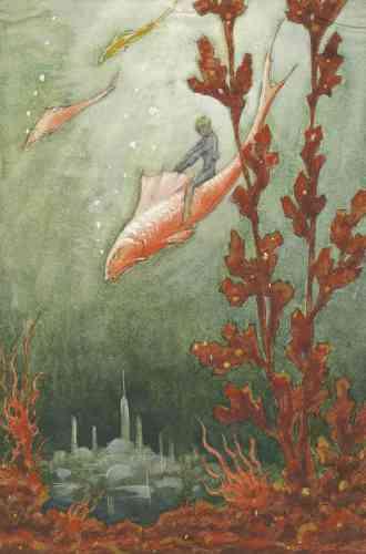 """«Les enfants chevauchant des poissons ou autres animaux, réels ou imaginaires, sont légions dans les illustrations de contes. Ils dérivent de l'iconographie antique de l'Eros chevauchant un dauphin, auquel les auteurs prêtent de nouvelles aventures. De même, l'imaginaire des mondes engloutis renvoie au mythe grec de l'Atlantide. A ces liens iconographiques, il convient d'ajouter ceux thématiques qui traversent les contes européens, soulignés par le Finlandais Antti Aarne, dont la classification en """"contes-type"""" fait toujours autorité.»"""