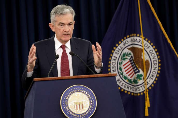 Le patron de la Fed Jerome Powell lors de sa conférence de presse à Washington, le 19décembre 2018.