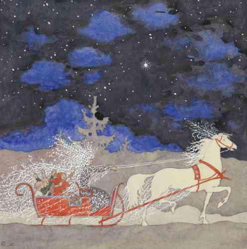 «En ressortissant du conte, l'imagerie de Noël ne perdit cependant pas tout à fait son contenu religieux, transposant l'étoile des mages et des bergers en étoile de Noël. Le traîneau de la Bonne Dame des neiges ou celui du père Noël contribua à séculariser la fête religieuse et à la transposer dans un environnement nordique hivernal.»
