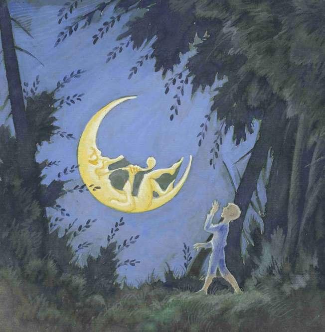 """«L'iconographie du bonhomme de la Lune se répand au XXe siècle, à la suite du film de Georges Méliès : """"Le Voyage dans la Lune"""" (1902). La personnification débonnaire de la Lune dans l'illustration de """"L'Oiseau d'or"""" permet d'atténuer l'angoisse véhiculée par l'image de la nuit et de la forêt obscure. Rudolf Koivu excelle à restituer dans ses illustrations les motifs symbolistes qui s'étaient initialement inspirés de l'univers merveilleux et inquiétant du conte.»"""