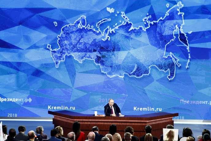 Le président russe Vladimir Poutine, lors de sa conférence de presse annuelle à Moscou, le 20 décembre.