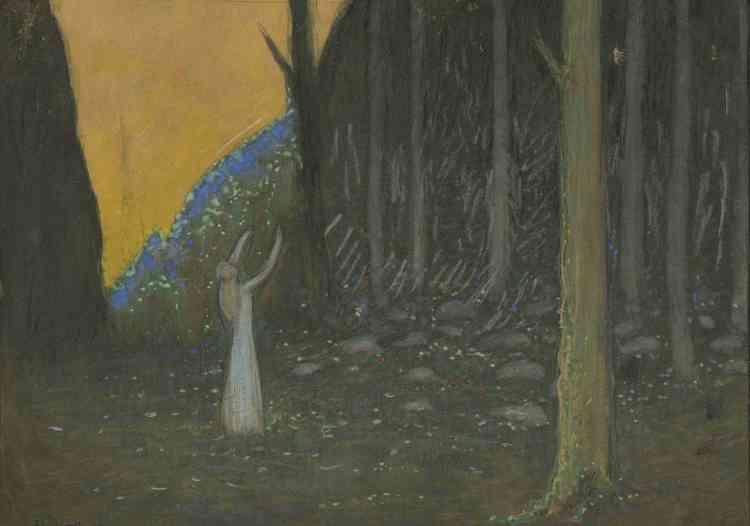 """«La proximité de l'illustration de Rudolf Koivu pour le conte de """"La Princesse changée en grenouille"""" et de la peinture d'Alphonse Osbert souligne aussi bien le caractère décoratif du maître français que l'ambition artistique de l'illustrateur. Là où Osbert avait introduit des figures élégiaques dans une nature habitée, en utilisant une palette bleu, blanc et or, Koivu restitue un même décor autour de ses princesses et petites sœurs diaphanes.»"""