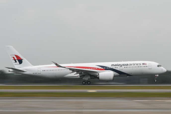 Un A350 d'Airbus de la Malaysia Airlines, à Sepang, en Malaisie.