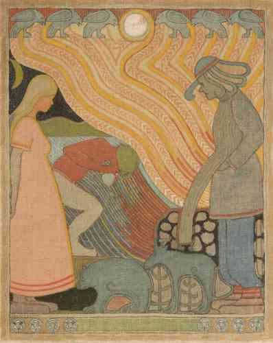 «La puissance archaïque du feu, souvent évoquée dans le Kalevala avec la présence d'Ilmarinen, le forgeron mythique, rencontre un archaïsme voulu de la forme. La bidimensionnalité et les formes stylisées de la peinture de Joseph Alanen ont été associées par ses contemporains à une résurgence de l'art du relief égyptien et babylonien, là où l'on aurait tendance à noter aujourd'hui une inspiration de la sculpture de l'âge de bronze nordique.»