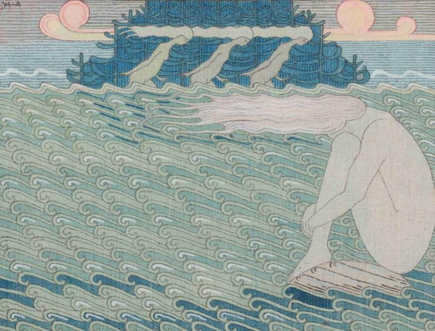 """«Le caractère éminemment graphique et rythmique des œuvres kalévaléennes de Joseph Alanen s'assortit d'un rendu rugueux évoquant la tapisserie. Le peintre tire parti du rythme ternaire des """"Vierges de Vellamo"""" pour souligner par la répétition le rythme des runes du Kalevala. Il parvient ainsi à une équivalence visuelle de la cadence chantée de la légende, transmise au XIXe siècle par les bardes de Carélie.»"""