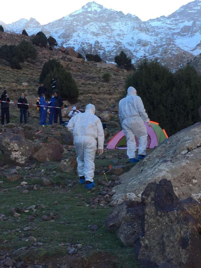 Cette capture d'écranmontre le lieu où ont été trouvés les corps des deux touristes scandinaves, le 18 décembre, près d'Imlil (Maroc).