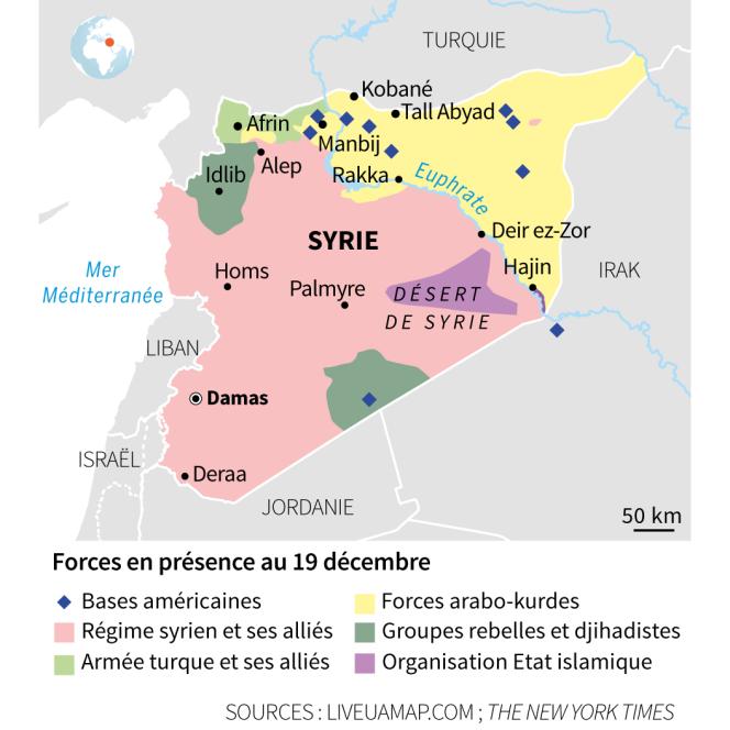 Carte des forces en présence en Syrie au 19 décembre.