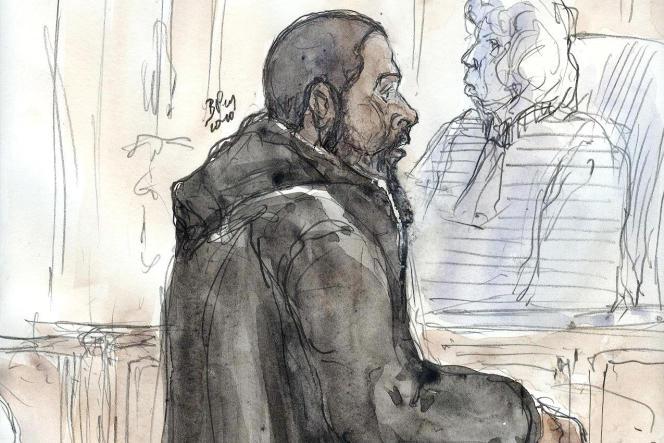 Portait du djihadiste français Peter Cherif, lors de son procès à Paris, le 26 janvier 2011.