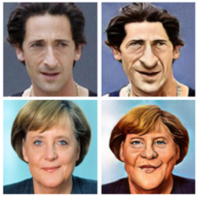 A droite, caricatures dessinées par une intelligence artificielle en s'inspirant des photos de gauche.