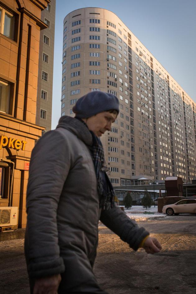 Scène de vie dans les rues d'Almatyau Kazakhstan, en décembre 2018.