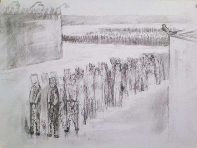 L'un des croquis racontant l'histoire de Sophia, 20 ans, dans les camps de détention.