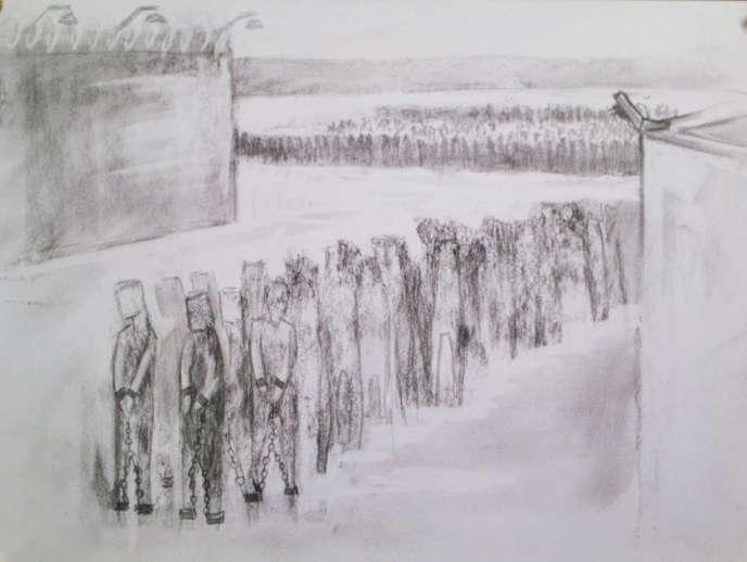 Sophia(pseudonyme)raconte par des croquisses six mois passés dans les camps de détention chinois du Xinjiang.