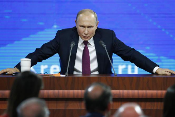 Le président russe Vladimir Poutine lors de sa conférence de presse annuelle, à Moscou, le 20 décembre.