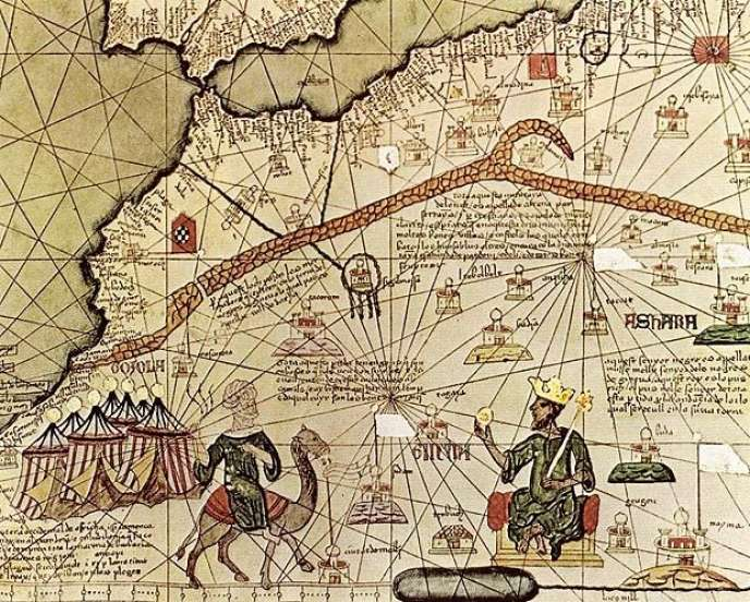 Carte extraite du manuscrit de la charte du Manden datant de 1236.