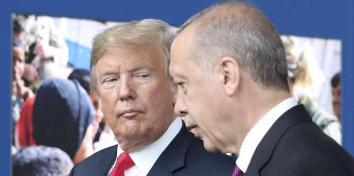 Le président américain Donald Trump et son homologue turc, Recep Tayyip Erdogan, le 11 juillet au siège de l'OTAN, à Bruxelles (Belgique).