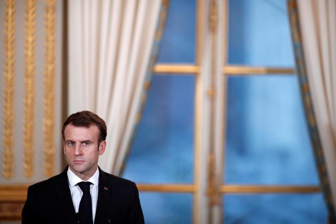 Emmanuel Macron lors d'une conférence de presse avec le président du Burkina Faso, Roch Marc Christian Kabore, à l'Elysée, le 17 décembre.