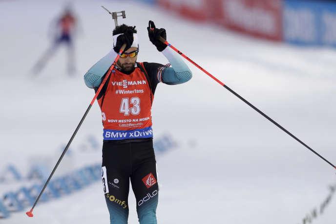 Martin Fourcade à l'issue de l'épreuve de poursuite, le 22 décembre 2018, à Nove Mesto, en République tchèque.