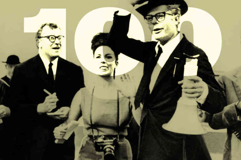 Composite à partir de la photo du film Huit et demi — Fellini — pour la cover des 100 chefs d'œuvre du cinéma critiqués par le monde