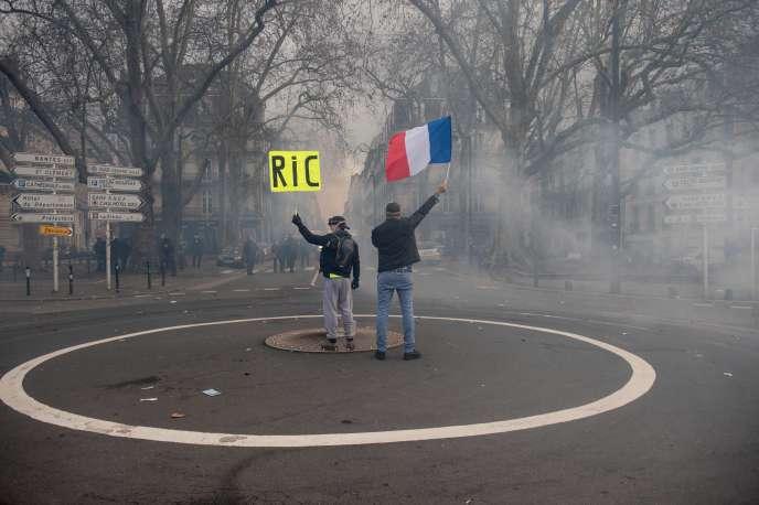 Lors de la manifestation des «gilets jaunes», àNantes, le 22 décembre.
