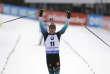 Le Français Quentin Fillon Maillet célèbre sa deuxième place de la mass start,à Nove Mesto (République tchèque), le 23 décembre.