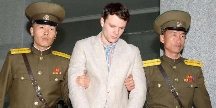 Otto Warmbier jugé àPyongyang, le 16 mars 2016.