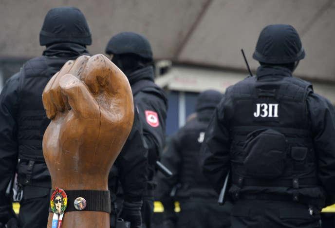 Intervention de police à Sarajevo, le 25 décembre 2018.