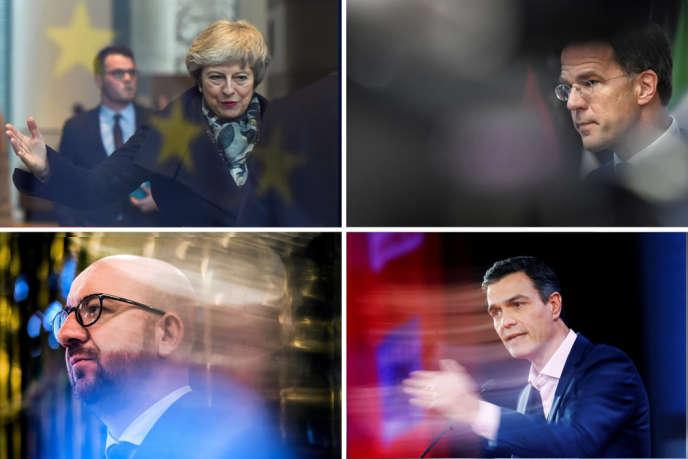 Les chefs de gouvernement britannique, Theresa May, néerlandais, Mark Rutte, belge, Charles Michel et espagnol, Pedro Sanchez.