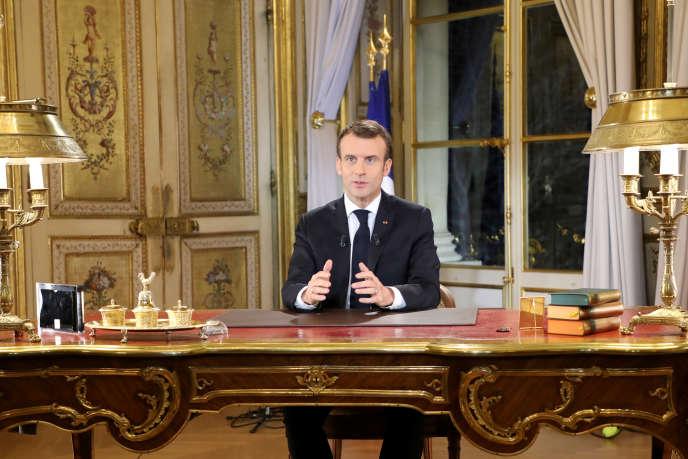 Emmanuel Macron, à l'Elysée, le 10décembre.
