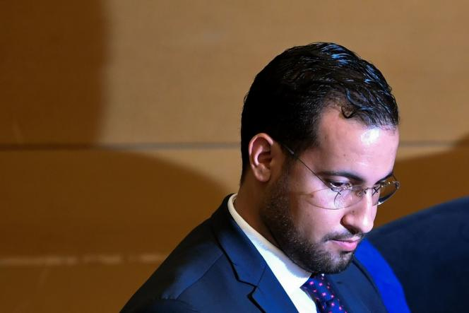 L'ancien chargé de missionde l'Elysée Alexandre Benalla, devant la commission d'enquête du Sénat, en septembre 2018.