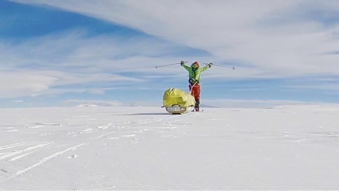 Colin O'Brady, le 26 décembre, après ses 54 jours de traversée de l'Antarctique.