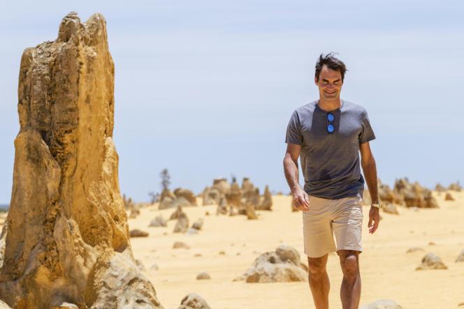 Un rocher et Roger Federer, en Australie.