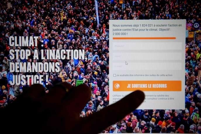 Un écran d'ordinateur affichant le site Web «L'Affaire du siècle», le 27 décembre.