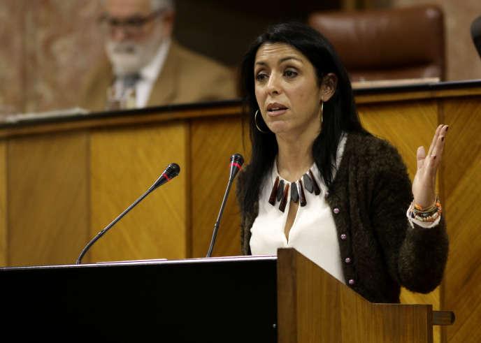 Marta Bosquet, du parti Ciudadanos, à la tribune du Parlement d'Andalousie, le 20 décembre 2017.