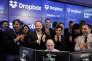 Drew Houston and Arash Ferdowsi (au centre), fondateurs de Dropbox, à la Bourse de New York, le 23 mars, jour de la première cotation de la société à l'indice Nasdaq.