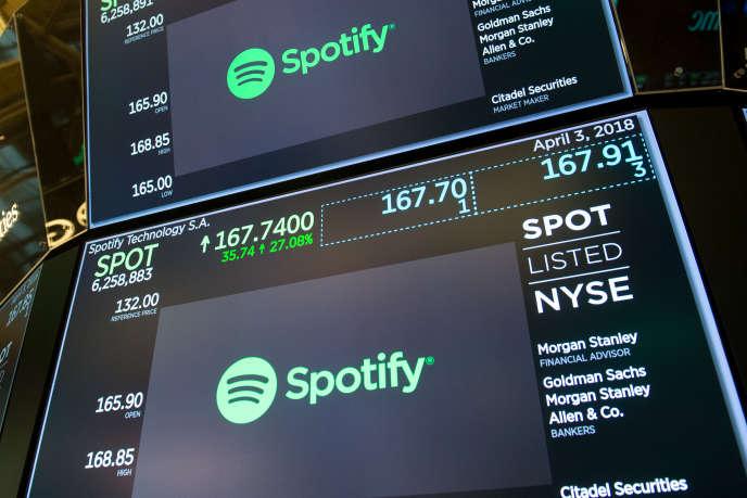 Spotify a été cotée pour la première fois à la Bourse de New York le 3 avril.
